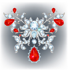 Brooch with rubies vector