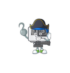 Calm one hand pirate action camera wearing hat vector
