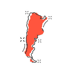 cartoon argentina map icon in comic style vector image
