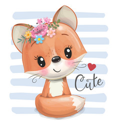 Cartoon fox with flowers on a striped background vector