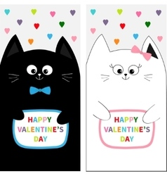 Cat family couple with bow Flyer poster set Cute vector image