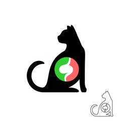 Cat silhouette with stomach symbol pet animals vector