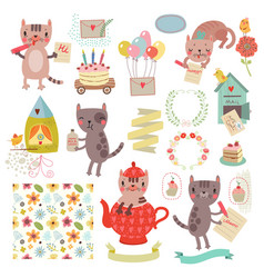 Cats and elements vector