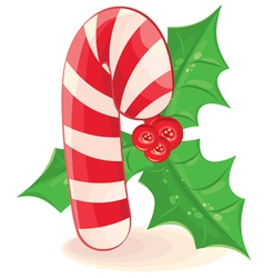Christmas candy and a branch of mistletoe on white vector