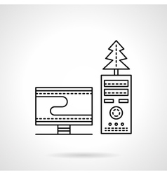 Christmas workplace black flat line icon vector