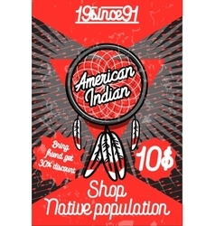 Color vintage american indian poster vector image