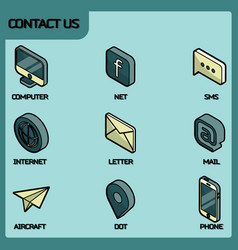 contact us color outline isometric icons vector image