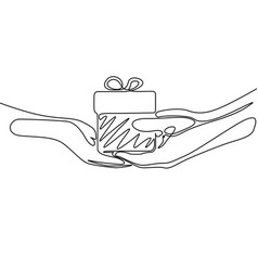 Continuous one line drawing give a gift vector
