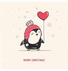 Cute hand drawn penguin with red heart balloon vector image