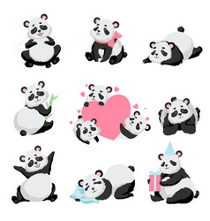 Cute happy baby panda bear set lovely animal vector