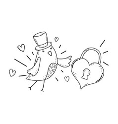 cute little bird with heart padlock lovely vector image