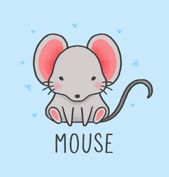 cute mouse cartoon hand drawn style vector image