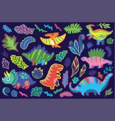 Decorative dinosaur and fern sticker set vector