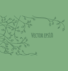 Decorative outline green ivy leaves and sprout vector