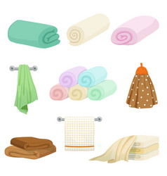 Different colored towels for kitchen and bathroom vector