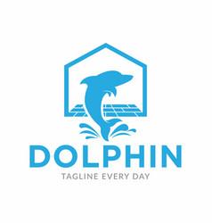 Dolphin home logo design template vector