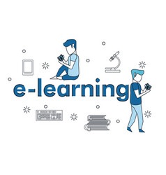 e learning couple elements vector image