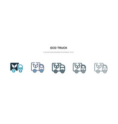 eco truck icon in different style two colored vector image