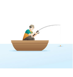 fishing on lake vector image