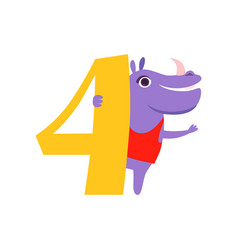 funny cute hippo animal and number four birthday vector image