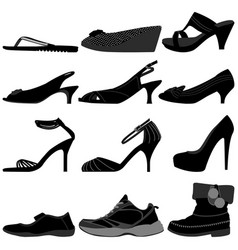 girl female woman shoes footwear a set of female vector image