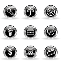 Glossy icon set 24 vector image