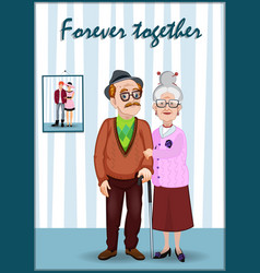 grandfather and grandmother in the room with vector image