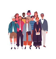 Group smiling young multinational man and woman vector