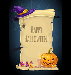 Halloween holiday paper scroll greeting card vector