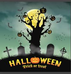 halloween silhouette dead tree in night graveyard vector image