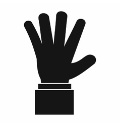Hand showing five fingers icon simple style vector image