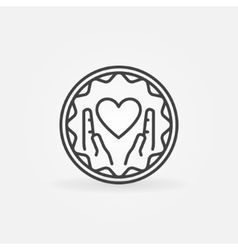 Hands holding heart badge vector image