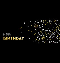 Happy birthday web banner with gold decoration vector