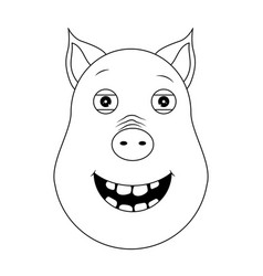 head of happy pig in outline style kawaii animal vector image