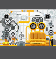 Industrial machinery factory engineering vector