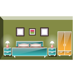 Interior space bedroom with a bed vector