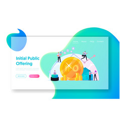 ipo initial public offering landing page template vector image