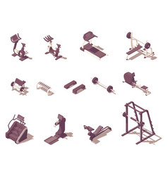 isometric gym exercise machines set vector image