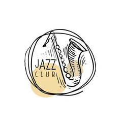 jazz club logo vintage music label with saxophone vector image