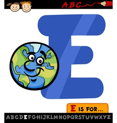 letter e with earth cartoon vector image