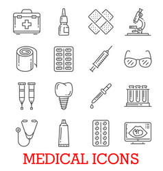 Line icons of medical pills and medicines vector