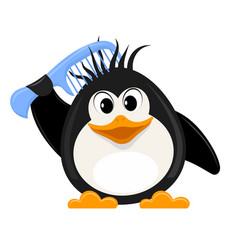 little cute penguin with a comb on a white vector image vector image