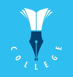 Logo nib and books for college vector