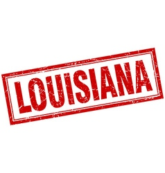 Louisiana red square grunge stamp on white vector