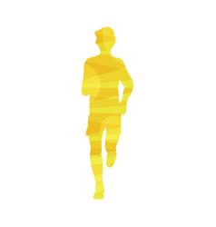 man yellow silhouette running marathon or jogging vector image