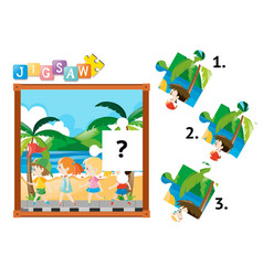 Missing jigsaw puzzle game with kids on the road vector