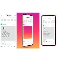 mockup mobile phone social network screen vector image