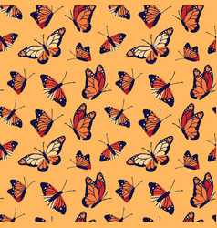 Monarch butterfly seamless pattern background vector