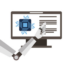 monitor computer with processor and robot hand vector image