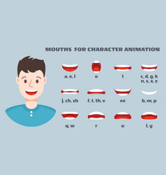 mouth sync male face with lips talking expression vector image
